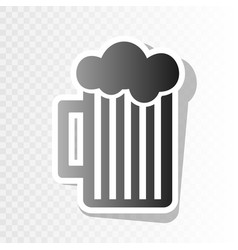 Glass of beer sign new year blackish icon vector