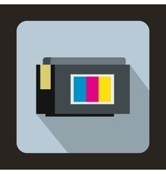 Inkjet printer cartridge icon flat style vector image