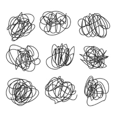 light set hand drawn scribble line shapes vector image
