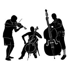 musicians play on the violin and cello bass vector image vector image