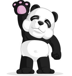 Panda Waving His Hand vector image vector image