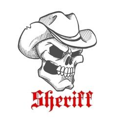 Dangerous skull sheriff in cowboy hat sketch vector