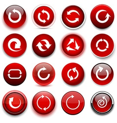 Round red arrow icons vector image