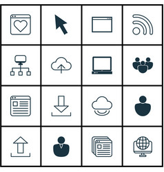 Set of 16 world wide web icons includes followed vector