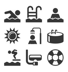 swimming pool icons set on white background vector image