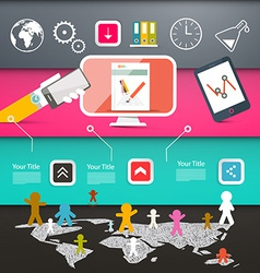 Web Page Layout with Technology Icons on Colorful vector image vector image