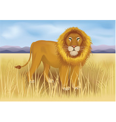 wild african lion in savanna between mountains vector image vector image
