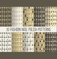 10 different nail polish seamless patterns in vector