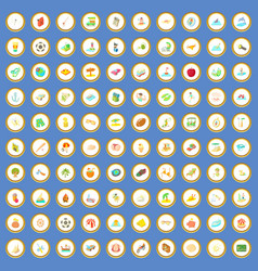 100 summer holidays icons set cartoon vector image