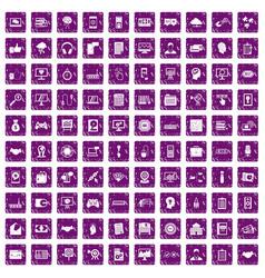 100 web development icons set grunge purple vector image