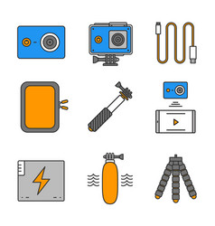 Action camera color icons set vector