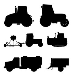 agriculture industrial farm equipment black vector image