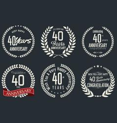 Anniversary retro labels 40 years vector