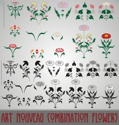 Art Nouveau Combination Flowers vector
