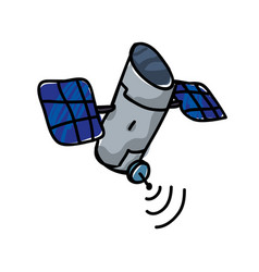 Artificial satellite orbiting icon vector