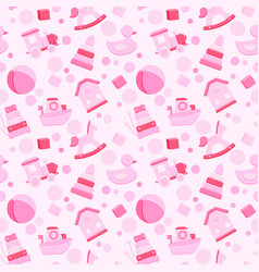Baby girl toys seamless pattern vector