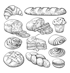bakery product sketch bread and cakes set vector image
