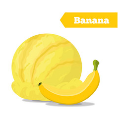 Banana ice cream summer cold dessert vector