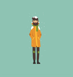 Bearded man in warm clothes freezing and shivering vector