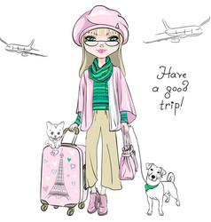 Beautiful fashion girl travels the world vector