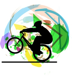 Biker in action vector