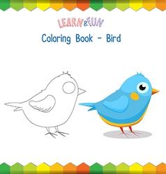 Bird coloring book educational game vector