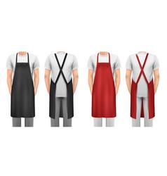 black and red cotton kitchen apron set design vector image