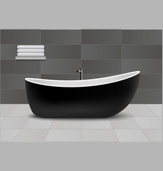 black bathtub concept background realistic style vector image