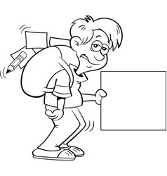 boy with a large backpack and holding a sign vector image