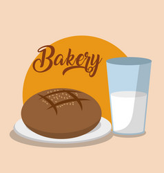 Bread and milk design vector
