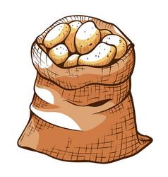Brown jute bagful ripe potatoes canvas sack of vector