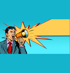 businessman with megaphone yellow ray vector image