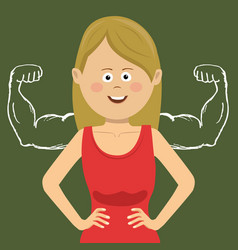 businesswoman with muscles drawn on blackboard vector image