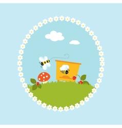 Cartoon flowers beehive fruits garden art vector image