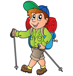 Cartoon hiker boy vector