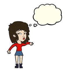 Cartoon woman playing it cool with thought bubble vector