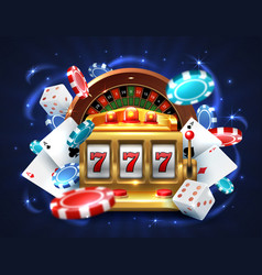 casino 777 slot machine gambling roulette big vector image