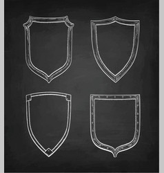 Chalk sketch vintage shields vector
