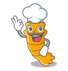 chef fresh raw shrimps on character cartoon vector image