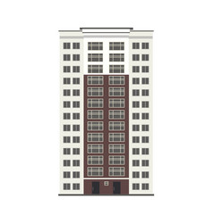 city multistorey building exterior front view with vector image