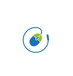 creative computer mouse cable circle logo design vector image