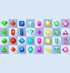 crystal various shapes icons set flat style vector image