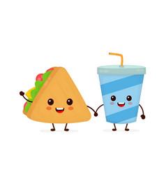 cute funny smiling happy sandwich vector image