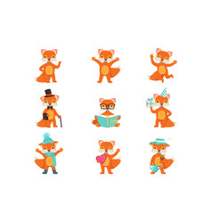 cute little fox cartoon characters set for label vector image
