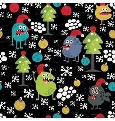Cute monsters and Christmas seamless pattern vector image