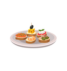 Delicious tapas with different ingredients vector