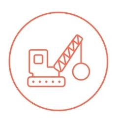 Demolition crane line icon vector