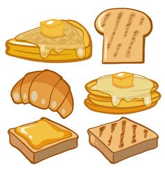 Different types of bread for breakfast vector