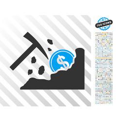 Dollar mining hammer flat icon with bonus vector