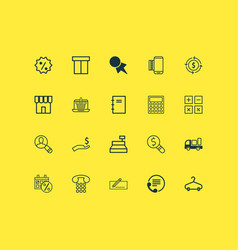 ecommerce icons set with paper tag hanger sales vector image